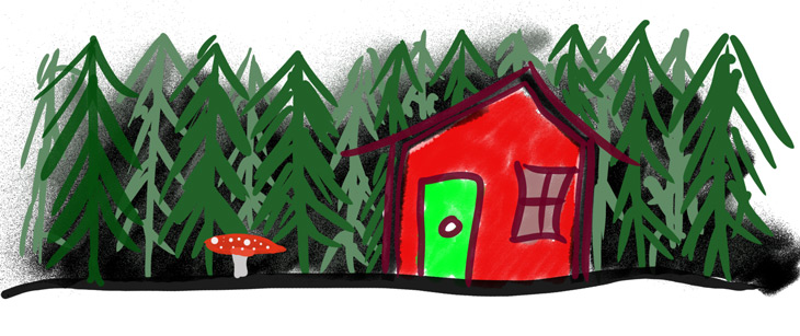 Boreal forest drawing with nordic house