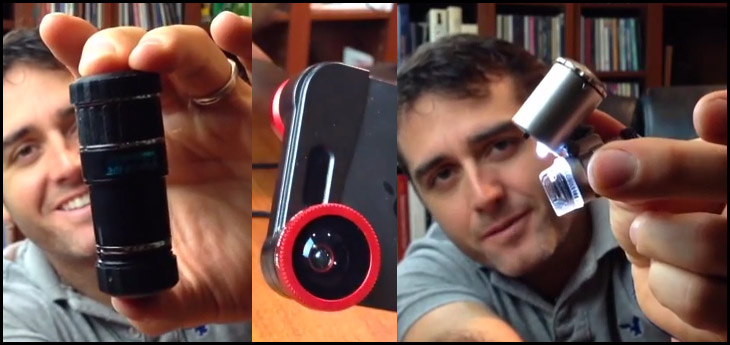 iphone lenses - microscope, telephoto and wide