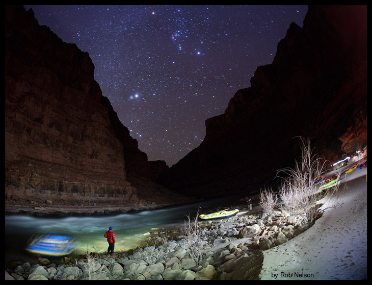 Paddling the Grand Canyon - light painting