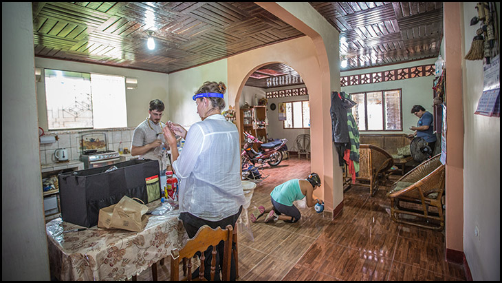House in Iquitos with entomologists