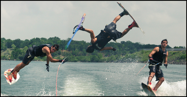 Wakeboarding composite image