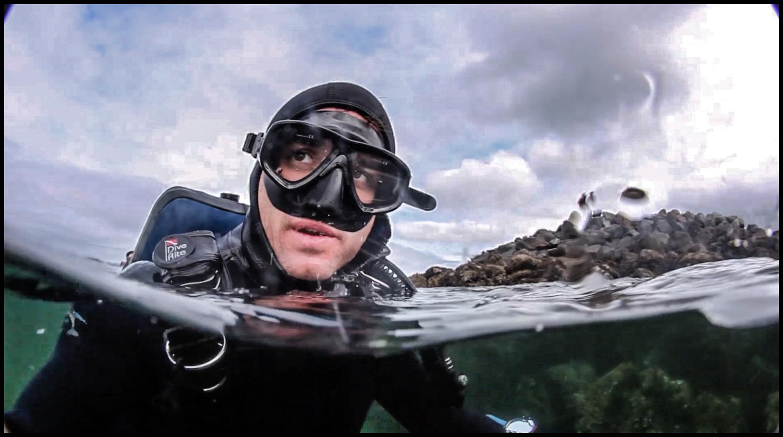 depression - scuba diver in cold water